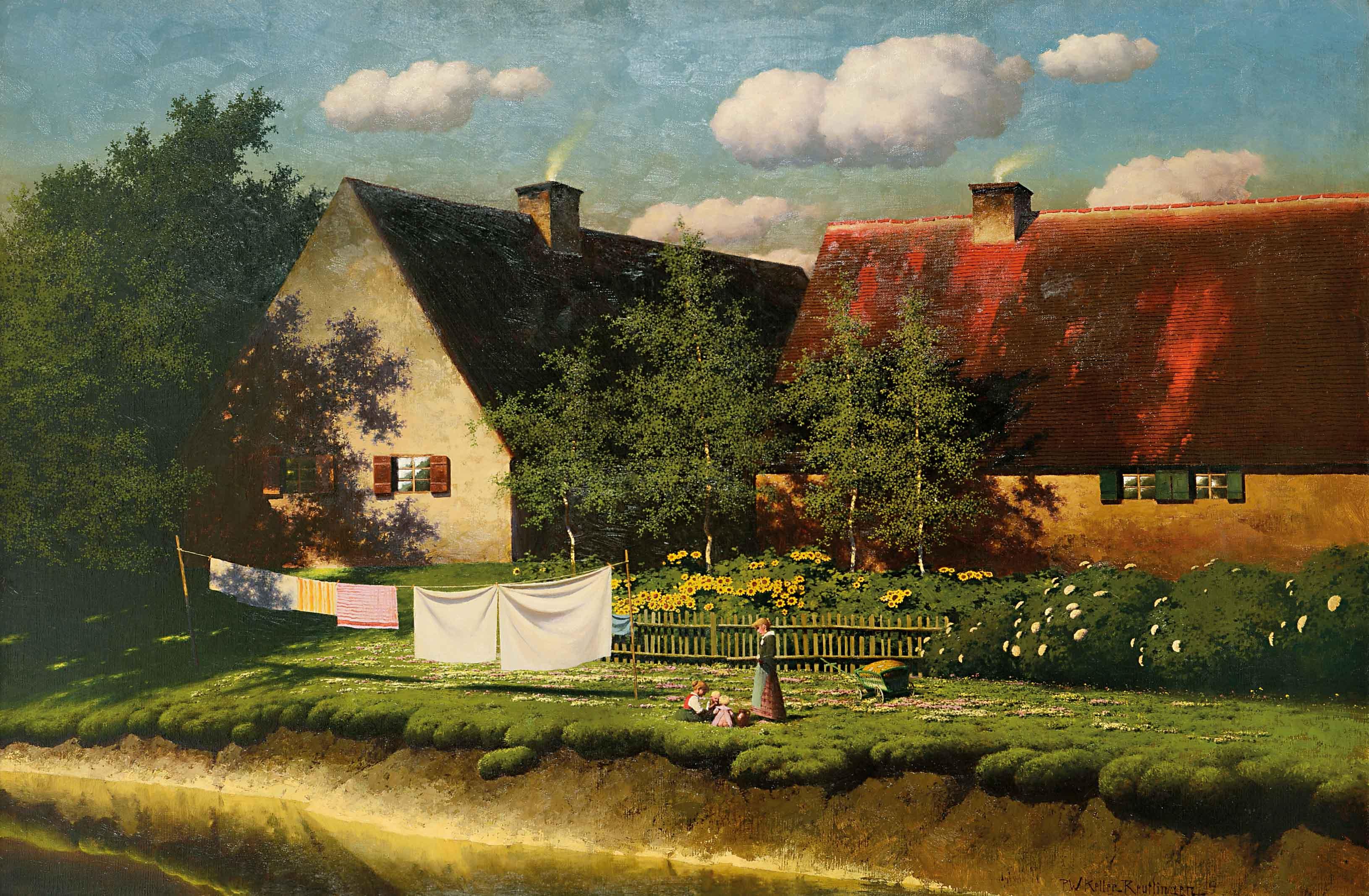 Maler In Reutlingen paul wilhelm keller reutlingen mutter mit kindern auf blumenwiese