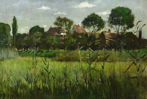 Gemälde 19. / 20. Jhd., Landschaftsmalerei, Keller-Reutlingen, Blick auf ein Dorf