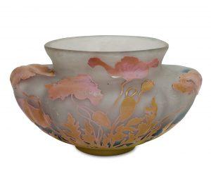 Jugendstilglas Gallé, Vase, versteigert von Scheublein, München, in der Auktion am 30. Juni