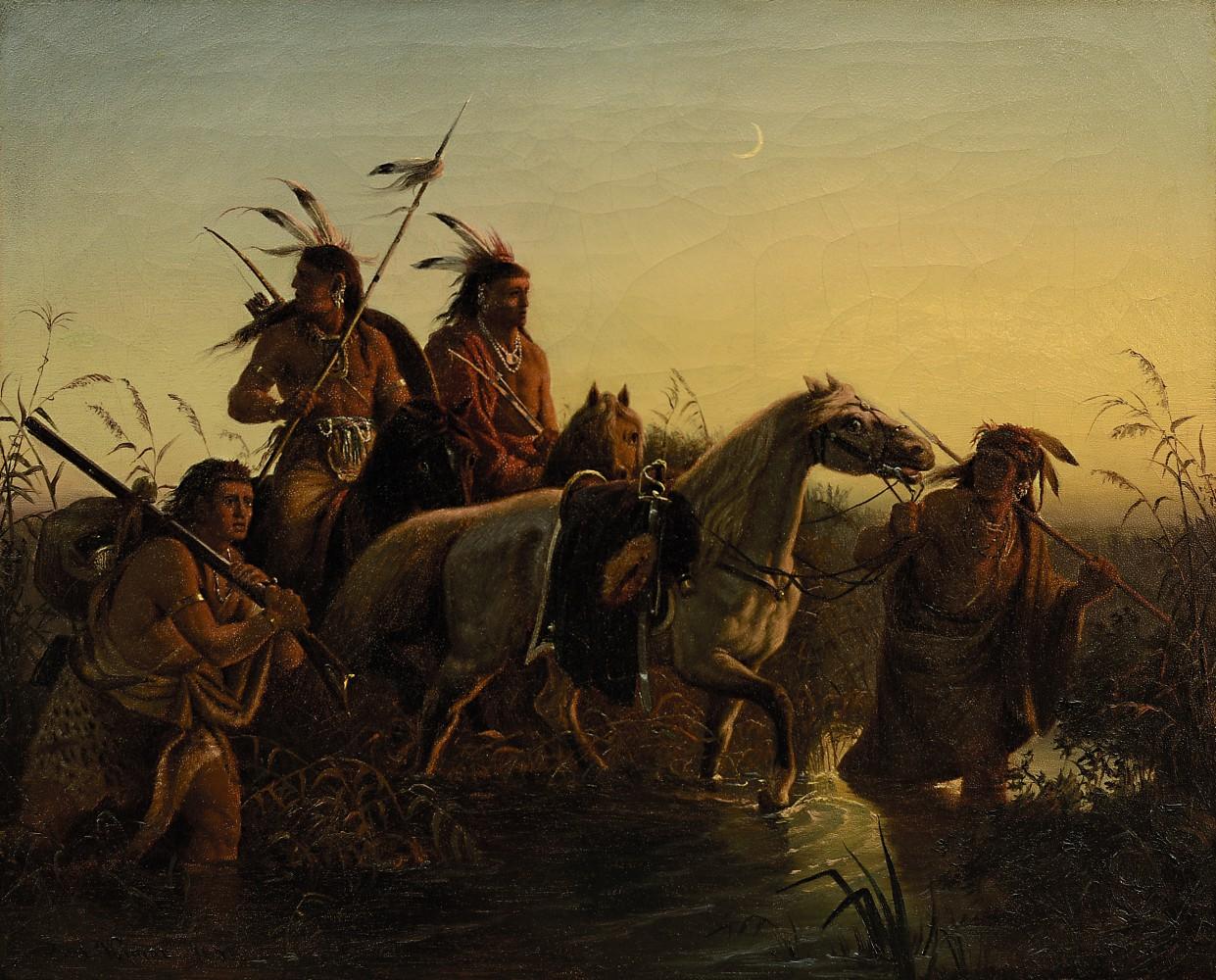 """Carl Ferdinand Charles Wimars Gemälde """"Indianer mit Pferden"""", eine Ölstudie zu seinem Gemälde """"Captive Charger"""", wird bei Scheublein, München, in der Auktion am 30. Juni versteigert."""