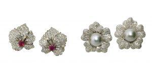 Ohrclipse Diamant Brillant Rubin Tahiti-Zuchtperle Utta Danella Scheublein Auktion München