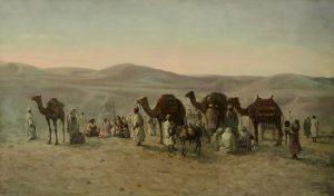 Orientalismus Orientalist Gemälde Karawane Wüste Auktion München Scheublein