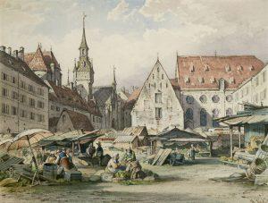 August Seidel München Ansichten Viktualienmarkt Auktion München Scheublein